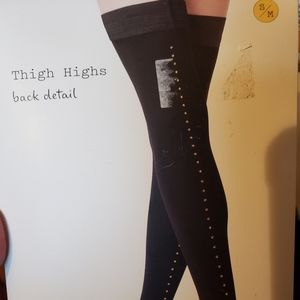 NWT Black Thigh Highs with Back Detail